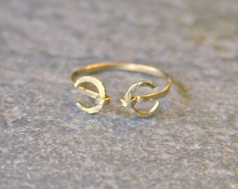 Thin Gold Double Crescent Moon Ring Wiccan or Celtic Symbol Ring Stacking Knuckle Ring Textured