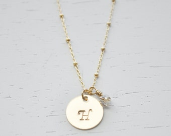 Gold Disc Initial Necklace - 1/2 inch gold disc with tiny crystal dainty gold filled satellite chain personalized charm hand stamped