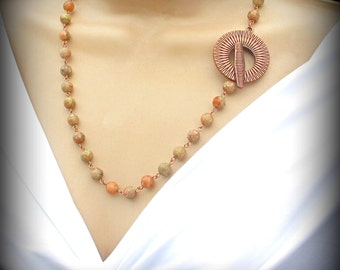 Necklace with Autumn Jasper and Antique Copper Focal