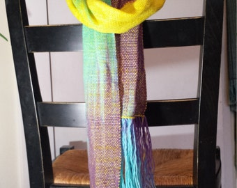 Handwoven scarf, pooling, bright gradient