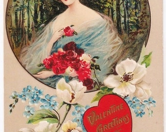 Valentine Greetings - Antique Postcard - Valentines, Valentine Postcards, Valentine's Day, Romantic, Hearts, Love, Roses, Paper, Ephemera
