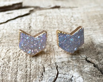 Gold Dipped Sparkly Druzy Crystal Chevron Geometric Stud Earrings