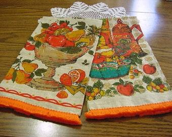 Mid Century Mod 60s NOS Linen Kitchen Dish Towel w Fringe -Czech Foil Label Pure Linen Tea Towel -Red Orange Harvest Gold Avocado Green