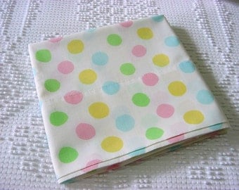 Pastel Polka Dot Standard Pillowcase - Made from Vintage 70s Sheeting - Mint Green Yellow Pink Blue Dot Pillow Cover Bed Linens No Iron