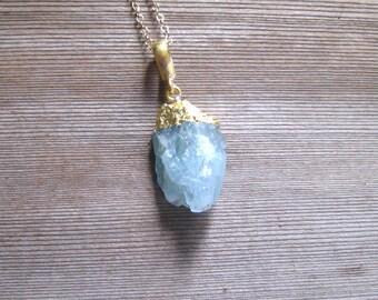 Raw Aquamarine Necklace, March birthstone,  Raw Stone Jewelry,  24 K Gold Vermeil, Bohemian Pendant, Aquamarine Jewelry