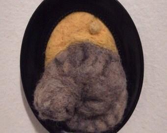 Sleeping Cat - Needle felted framed sculpture