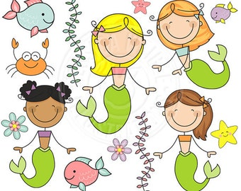 Mermaid Stick Figures Cute Digital Clipart - Commercial Use OK - Mermaid Clipart - Stick Figure Clipart
