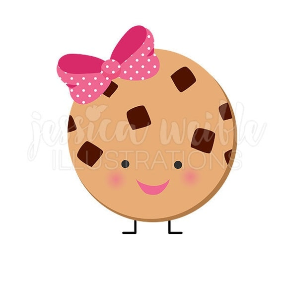 Cute Chocolate Chip Cookie Character Cute Digital Clipart