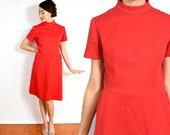 60s Mod Red Dress   Short Sleeve Rouge Dress, Medium