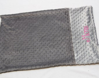 Create your own Personalized Minky Pillowcase - Grey on Grey