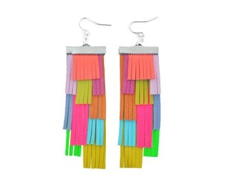 Rainbow Earrings, Leather Earrings, Neon Fringe Earrings, Geometric Earrings, Fringe Statement Earrings, Geometric Earrings, Leather Jewelry