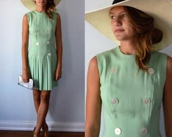 Vintage 1960s Mint Green Sleeveless Dress, 1960s Dress, Green Dress, Casual Dress, 1960s Dresses, Pleated Hem, Dresses, Summer Dress
