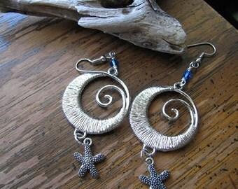 Silver starfish earrings | ocean wave | blue dangle | large statement