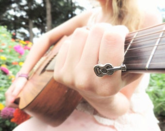 Men Music Ring - Women Guitar Jewelry - Men Rock Jewelry -Silver Guitar Ring -Music Teacher Gift Her Him -Music Lover Gift Guitarist Jewelry
