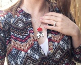 Sterling Silver Sugar Skull Necklace Pendant - Day of the Dead Necklace - Dia De Los Muertos Necklace - Flower Skull Jewelry - Mexican Skull