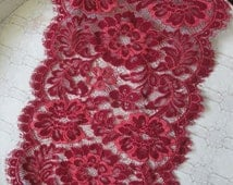 "10"" wide stretch  Rusty Red Floral Victorian style Scalloped eyelash trim lace for lingerie decor S132"