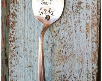 Potting Shed, Door Handle, Vintage Silverware, Upcycled Spoon, Hardware, Tulips, She Shed Decor, Cottage Shabby, Chic Shed, Buzzing Bee, USA