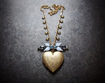 Heart Locket Necklace Pendant Jumbo Vintage Blue Rhinestones Assemblage Brass Gold chain Upcycled Repurposed Jewelry Victorian Antique