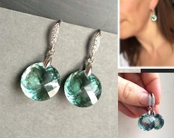 Green Amethyst Sterling Silver Pave Earrings - Luxury Jewelry
