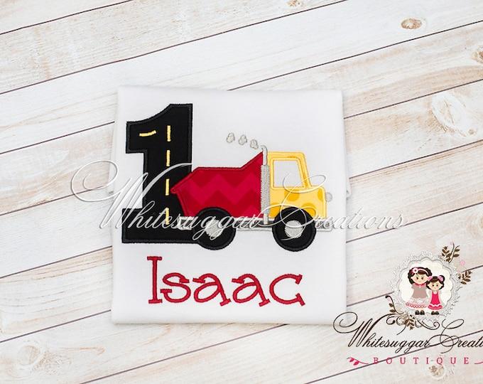 Baby Boy First Birthday - Red Dump-truck Birthday Shirt - PREMIUM Embroidered Birthday Outfit