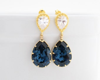 Montana Blue Wedding Teardrop Earrings, Wedding Earring Gold, Bridal Statement Earring, Gold Bridal Earring, Navy Blue Bridal Dangle Earring