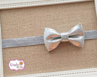 Silver Baby Headband,  Newborn Headband, Silver Baby Bow Headband, Glitter Headbands, Sparkly Baby Headbands, Baby Girl Bows, Grey Headband