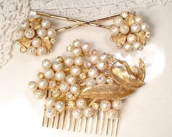 OOAK Gold Leaf Pearl Bridal Hair Comb, True Vintage Brushed Gold Rhinestone Brooch Wedding Headpiece, Flower Hair piece, Rustic Chic Country