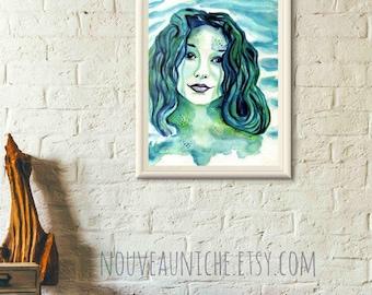 Watercolor Mermaid Tori Amos inspired Printable Art Wall Decor Digital Download Painting Home Decor Mermaid Art