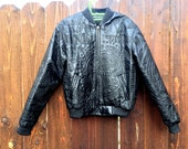 Embroidered Leather Bomber Jacket Money Small