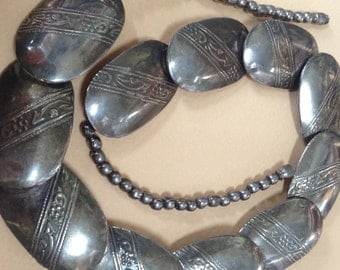 Hand Made Vintage Navajo Pillow Concho Bead Necklace - 1970s Jewelry