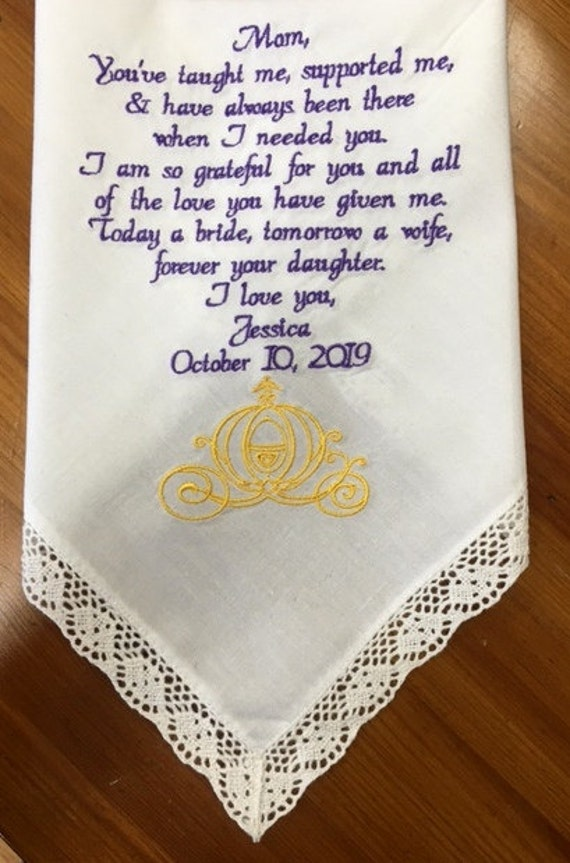Wedding Handkerchief Gift for Mom Mother of the Bride Wedding Gift ...