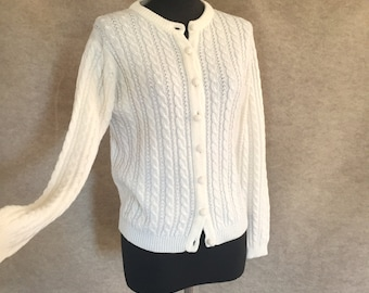 Vintage 70's Cardigan Sweater, White, Cabled, Small to Medium Bust 38