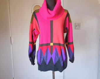 Vintage 80's Pullover Sweater, Bright Geometric Print, Hot Pink, Purple, Multicolor Knit Pullover, Long Sleeve, Small to Medium