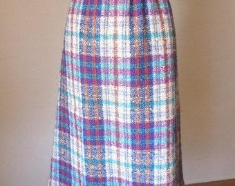 LAST CHANCE SALE Vintage 60's Boucle Skirt, Plaid, A-Line, Purple, Turquoise, Cream, Navy Blue and Lavender, Wool,  Women's Medium, Waist
