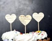 Vintage Book Page Heart Cupcake Picks