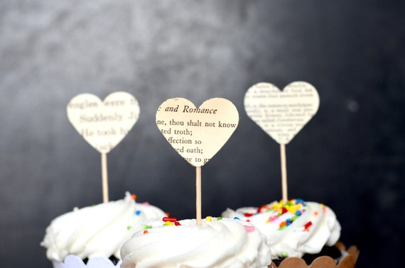 Vintage Book Page Heart Cupcake Picks