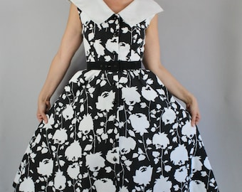 Vintage 80s does 50s Women's Black White Floral Full Skirt Midi Sleeveless Cotton Wedding Guest Summer Day Dress