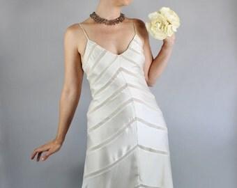 Vintage 90s does 30s Women's Cream Silk Bias Spring Summer Wedding Dress// Slipdress // Art Deco Dress