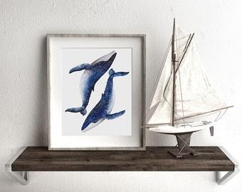 Humpback Whale Pair Watercolor Print, Whale art, Watercolour Whales, Humpback Whales print, Marine Art, Whale painting, Beach Home Decor