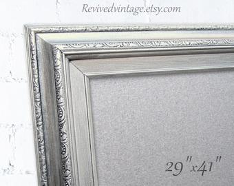 "LARGE STEEL DRY ErASE Board Magnetic Bulletin Board 41""x29"" Modern Office Silver Framed Brushed Nickel Kitchen Memo Board Metal Board"
