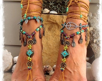 Turquoise LOVE BAREFOOT Sandals Boho Festival sandals Native Cowgirl Toe Thongs Nomad Gypsy Wedding foot wear Crochet foot jewelry GPyoga