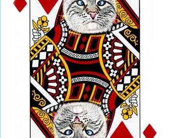 Lynx Point Siamese Queen of Diamonds  Handmade Card