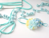 Blue My Mind - aqua blue and yellow rosette and chiffon headband bow