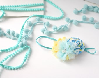 Blue My Mind - aqua blue and yellow rosette and chiffon headband bow