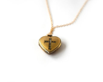 Vintage Sweetheart Locket With Cross c.1940s