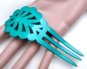 Green celluloid hair comb Art Deco Spanish style hair accessory hair pin hair pick hair fork hair prong
