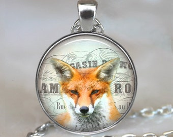 Fox Collage necklace, fox necklace, fox pendant, fox jewelry, fox jewellery, fox lover gift, fox key chain, fox key fob, fox key ring