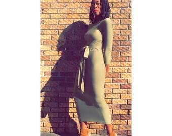Stretch long sleeve pencil dress.