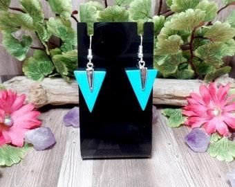 Blue Howlite Triangle Earrings - Gemstone Earrings - Silver Tone