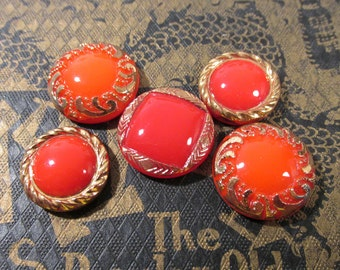 Red Moonglow Glass Shankless Buttons West Germany VINTAGE Red Gold Luster Buttons Five (5) Vintage Buttons Jewelry Sewing Supplies (J118)